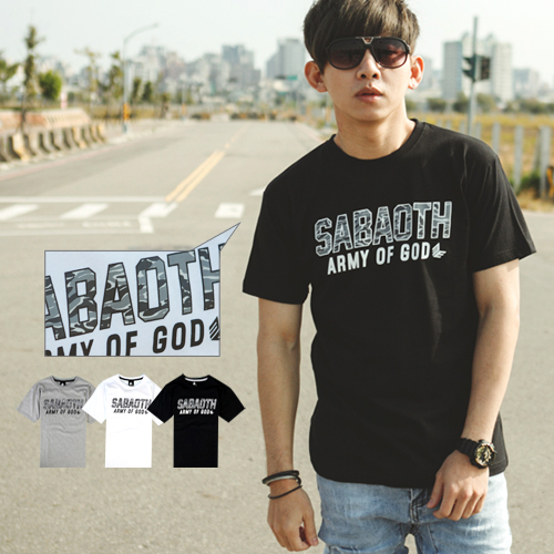 T恤 SABAOTH迷彩文字短T【NB0458J】