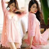 吊帶帶胸墊睡裙女夏季性感睡衣蕾絲春情趣火辣成人冰絲兩件套「時尚彩虹屋」