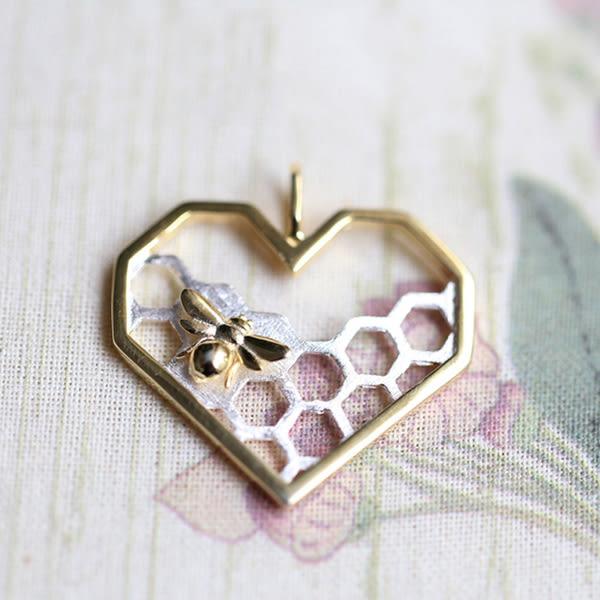 藝術素銀自然野趣心形蜂房立體純銀項鏈吊墜
