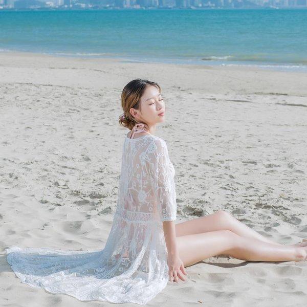 蕾絲透視泰國度假連身裙海邊沙灘長裙仙女神防曬泳衣罩衫936GT-B1F-BF-12B紅粉佳人