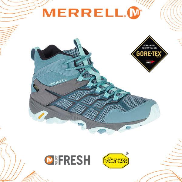 【MERRELL 女 MOAB FST 2 MID GORE-TEX 中筒鞋《淺藍灰》】ML49182/透氣/耐磨/防水/登山