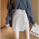 短裙 皮裙女秋冬新款時尚不規則黑色半身裙高腰顯瘦a字包臀短裙子