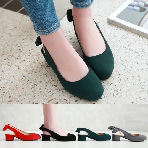 【35-43全尺碼】高跟鞋.復古簡約繞踝低跟包鞋.白鳥麗子