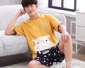男士睡衣夏季純棉短袖卡通青少年男式夏天薄款全棉家居服學生套裝  英賽爾3c