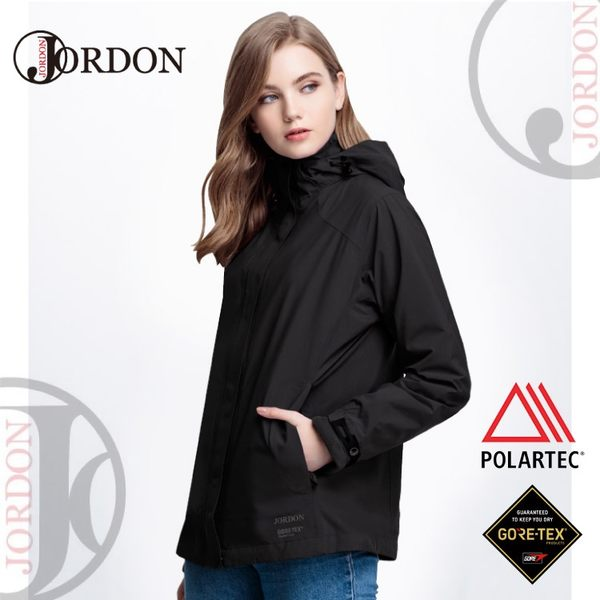 【JORDON 橋登 女GORE-TEX+POLARTEC二件式超輕外套《黑色》】1072/防水/刷毛外套