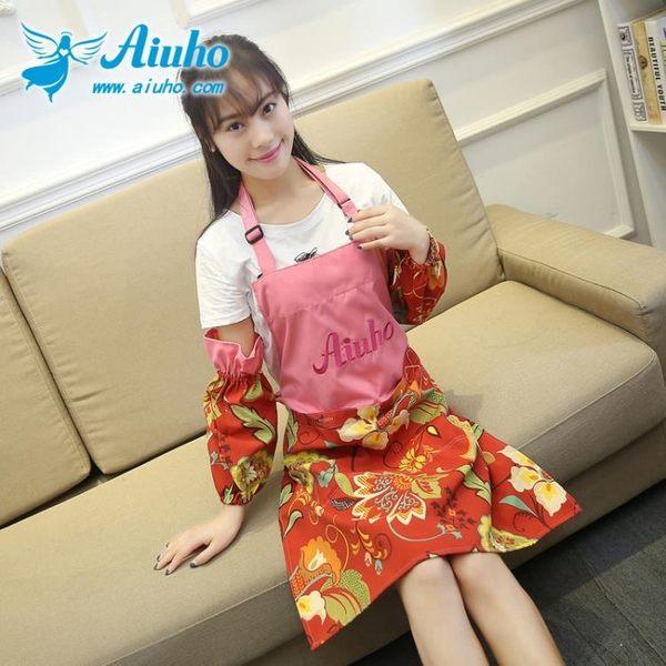 愛優活圍裙創意成人廚房工作服防水防油可繡字畫畫帶袖套 居享優品