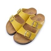 老船長 雙橫帶釦環腳床拖鞋 黃 女鞋 鞋全家福