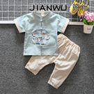 中國風兒童唐裝棉麻短袖套裝