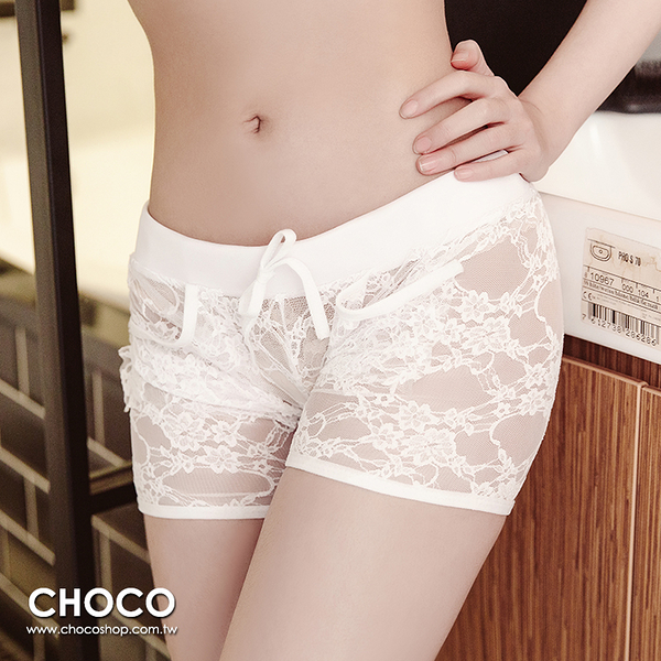 Choco Shop-誘惑女郎‧法式蕾絲透明透膚彈性內搭褲(白色) S~XL