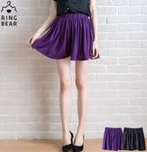 褲裙--百搭俏麗素面休閒鬆緊抓皺百摺褲裙(黑.紫S-2L)-R143眼圈熊中大尺碼◎