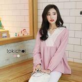 東京著衣-V領蕾絲娃娃上衣(6024567)