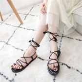 涼鞋女夏季韓版平底百搭套趾夾腳交叉綁帶涼靴學生羅馬鞋 街頭布衣
