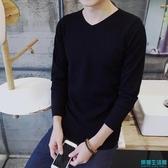 秋季新款男士毛衣潮流V領修身韓版打底針織衫長袖男裝上衣服