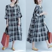 棉質格文顯瘦開襟洋裝-大尺碼 獨具衣格 J3845