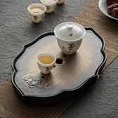 窯變鎏金干泡茶盤儲水禪意日式簡易陶瓷家用簡約小型瀝水茶臺托盤中秋特惠