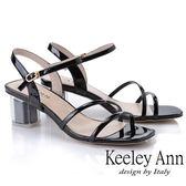 ★2019春夏★Keeley Ann造型透視跟 素雅線條中跟涼鞋(黑色) -Ann系列