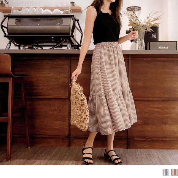 《CA2074-》高含棉條紋腰鬆緊荷葉拼接蛋糕長裙 OB嚴選