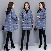 藍格子大衣冬裝新款毛呢外套女中長款韓版寬鬆呢子外套洋裝 週年慶降價