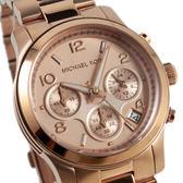 【萬年鐘錶】Michael Kors 三眼多功計時碼錶 玫瑰金殼 粉玫瑰錶面 MK5128