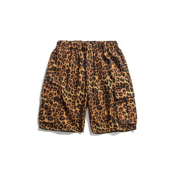 FINDSENSE 正韓薄款短褲 G6 2019夏款新款 豹紋工裝短褲家居沙灘褲