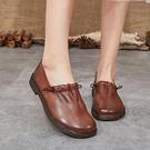 牛皮平底鞋 民族風手工鞋 真皮休閒鞋/2色-夢想家-標準碼-0110