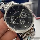 Tommy Hilfiger湯米希爾費格男錶40mm黑色錶面銀色錶帶