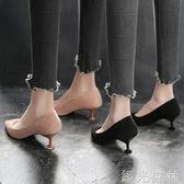 低跟鞋 貓跟鞋女矮跟春季淺口高跟鞋尖頭絨面黑色低跟單鞋女3cm 綠光森林