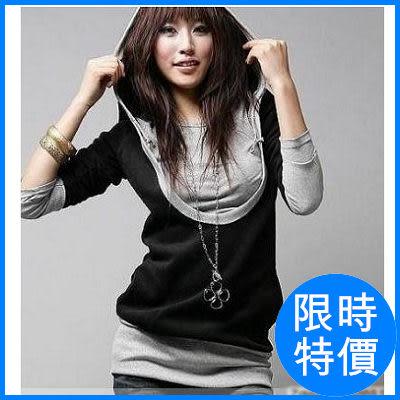 【7519】shiny藍格子-休閒暖風‧兩色拼接造型假兩件式繫繩連帽長T