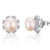 925純銀耳環珍珠(耳針式)-米字鑲鑽個性精緻生日情人節禮物女飾品73ah64【巴黎精品】