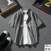 男性格紋襯衫  日繫復古格子短袖襯衫男經典格紋休閒韓版學生 珍妮寶貝