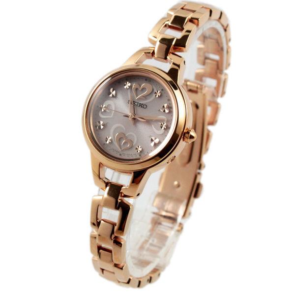 [萬年鐘錶] SEIKO Vivace 太陽能充電 電波校正時刻 圓型時尚女錶  玫瑰金 1B21-0AG0K(SWFH032J)