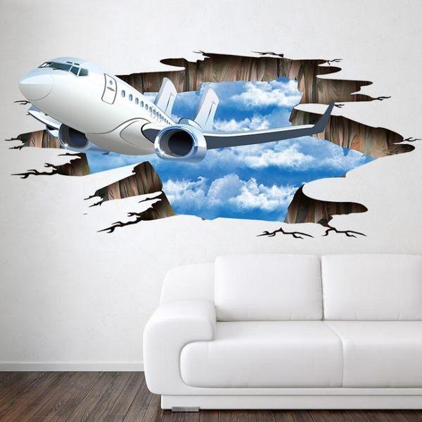 3D地貼 新款3D立體墻貼藍天白云飛機破墻 辦公室背景立體地貼裝飾墻壁貼 jy【好康八八折】