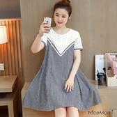 漂亮小媽咪 短袖 蕾絲 洋裝 【D3023UK】 短袖 格紋 輕薄 透氣 拼接 布蕾絲 孕婦洋裝