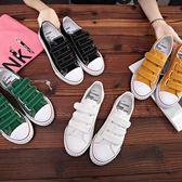 2018夏季新款魔術貼小白鞋女韓版百搭ins帆布鞋學生板鞋透氣白鞋『新佰數位屋』