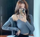 VK精品服飾 韓國風名媛性感針織細肩帶套裝外套長袖上衣