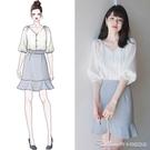 很仙的小眾泡泡袖白色雪紡襯衫女士韓版心機設計感V領鎖骨上衣夏 阿卡娜