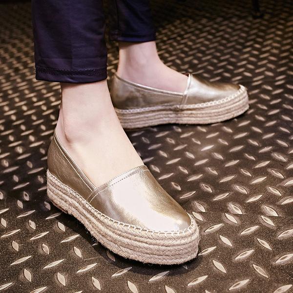 真皮女鞋一腳蹬懶人鞋厚底松糕跟圓頭單鞋子高跟平底內增高樂福鞋 -109248002