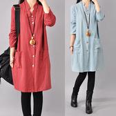 棉麻 素色釦子裝飾V領洋裝-中大尺碼 獨具衣格