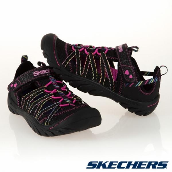 SKECHERS SUMMER STEPS 護趾涼鞋 黑 X 多彩 女孩鞋款 魔鬼氈 中童涼鞋 NO.R3903
