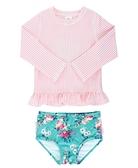 美國 RuffleButts 兩件式兒童泳衣- 粉紅泡泡花卉