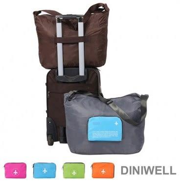 DINIWELL多功能單肩斜背可折疊行李箱拉桿收納包(40L) 玫紅