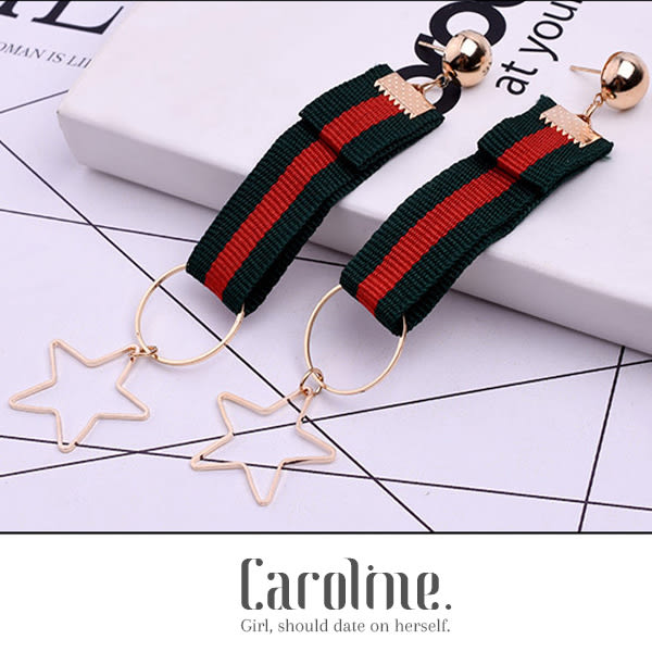 《Caroline》★韓國官網熱賣紅綠條紋歐美系 優雅浪漫風格時尚流行耳環69536