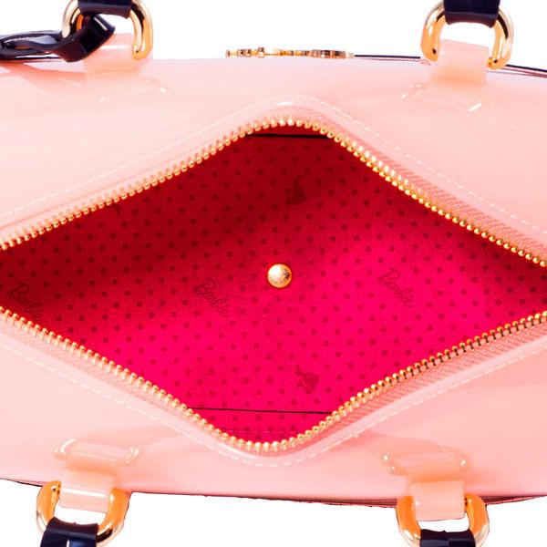 芭比甜美系列 印花拼接斜挎單肩手提果凍波士頓包