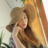 草帽 遮陽帽夏季手工草編海邊沙灘帽子大檐帽m73