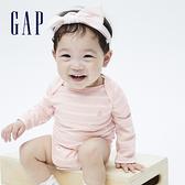 Gap嬰兒 棉質舒適小熊長袖包屁衣 663820-粉色條紋