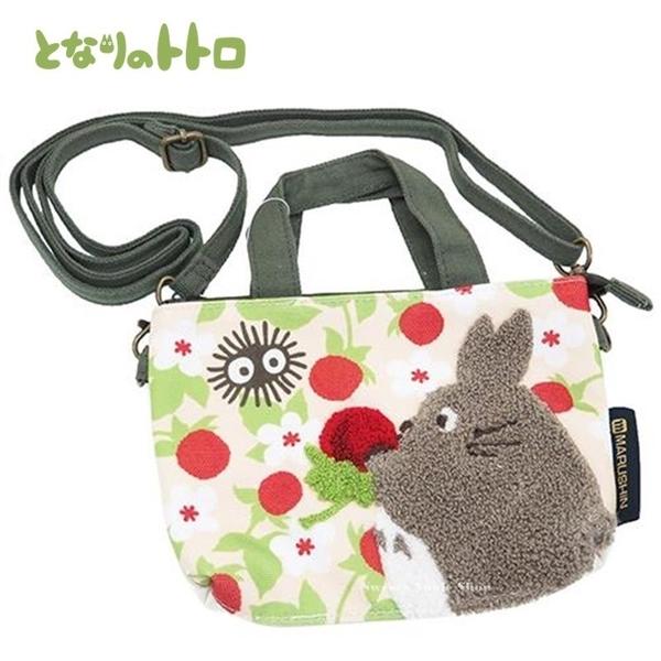日本限定 宮崎駿 龍貓 刺繡風 野莓 手機包 / 手機觸控 斜背包