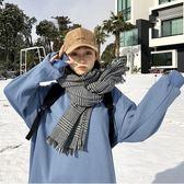 現貨-經典歐美黑白格子千鳥格圍巾韓版女百搭雙面加厚保暖披肩兩用冬季