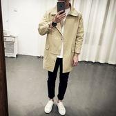 風衣外套-英倫時尚成熟帥氣中長版翻領男大衣2色73ip34[時尚巴黎]