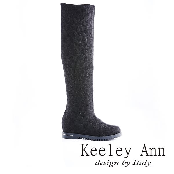 ★零碼出清★Keeley Ann 優雅品味 ~ 質感蕾絲布內增高及膝長靴(黑)【ANGEL系列】