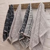 毛巾灰色幾何色織柔軟吸水洗臉面巾【極簡生活館】